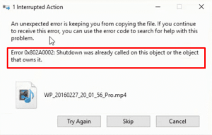 """Guide To Fix 0x802A0002 """"Shutdown was Already Called on this"""