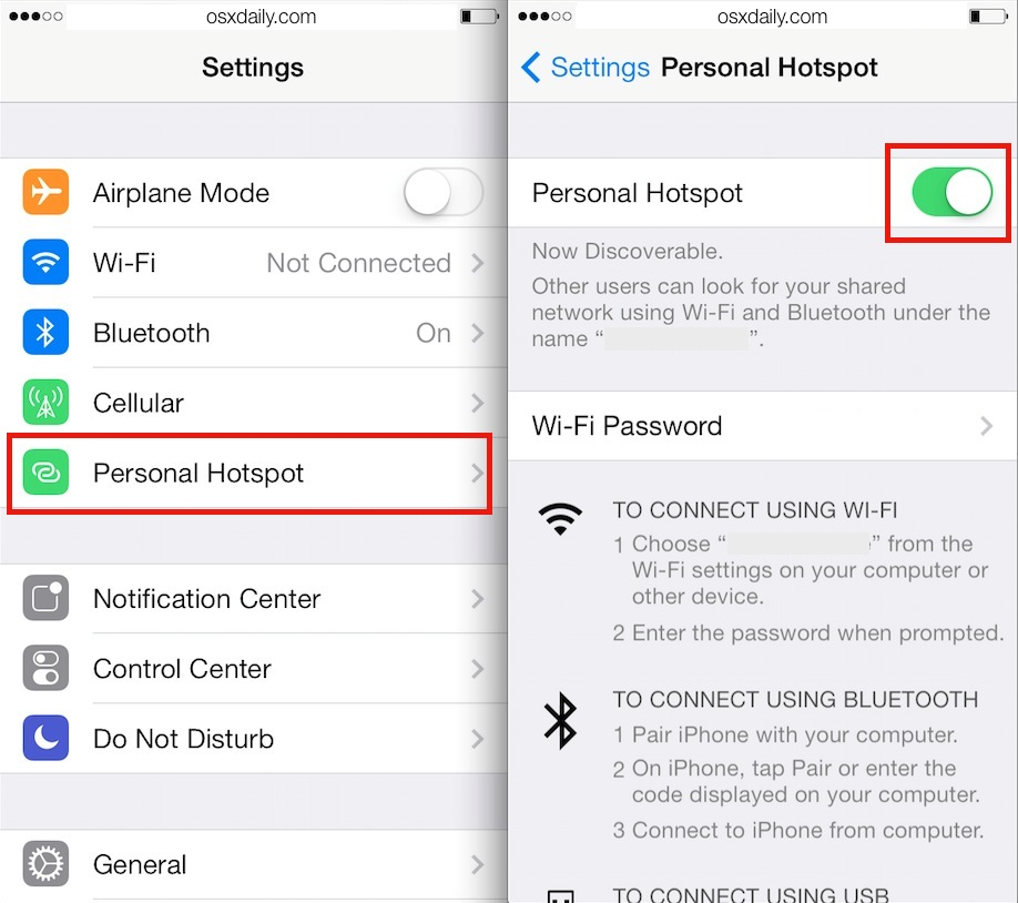 share internet connection on iPhone, iPad