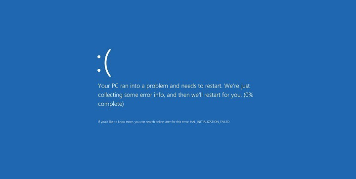 Critical Service Failed Blue Screen Error