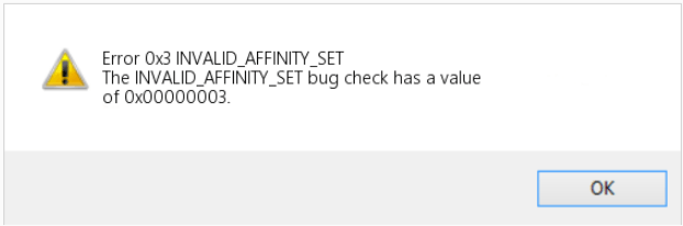 INVALID_AFFINITY_SET error