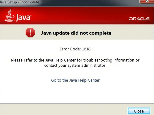 How to Fix Java Error Code 1618 Permanently in Few Clicks