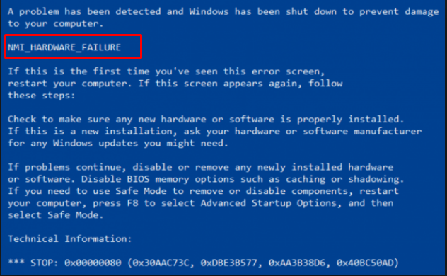 NMI_HARDWARE_FAILURE BSOD Error