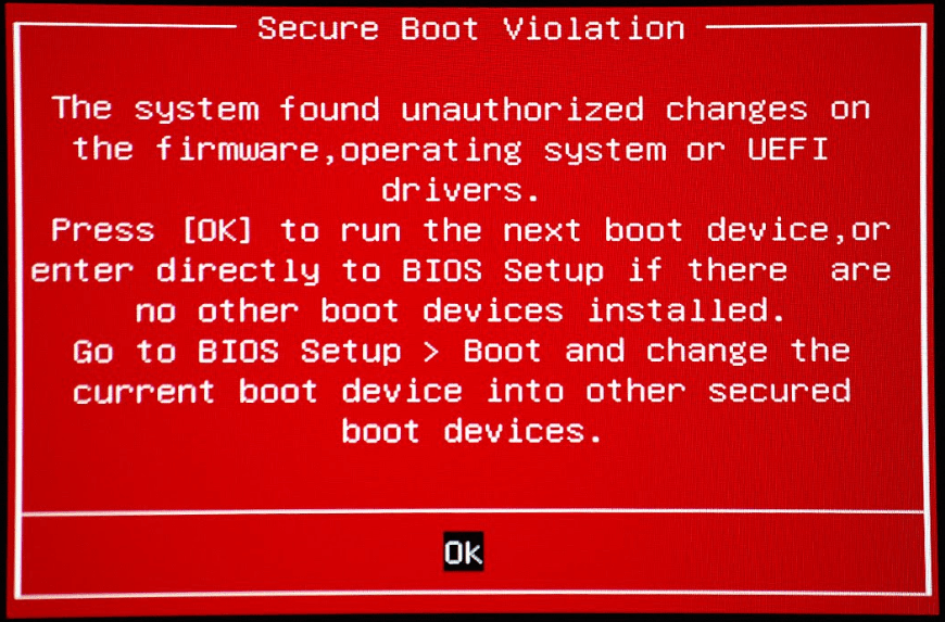SECURE_BOOT_VIOLATION BSOD Error